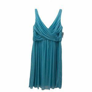 Davids Bridal Womens Faux Wrap Dress Blue Sz12 New